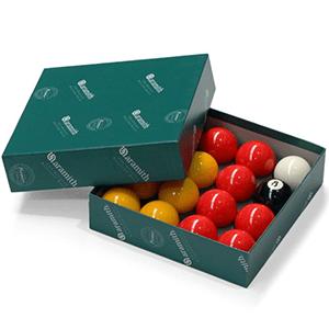 aramith red and yellow pool balls